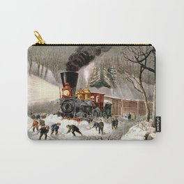 Snow Bound: Vintage Currier & Ives Railroad Scene Carry-All Pouch