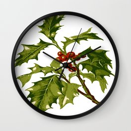 Holly Christmas Red Berry Wall Clock