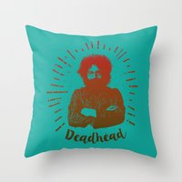grateful dead Throw Pillows featuring Grateful Dead, Jerry Garcia by Burnish and Press