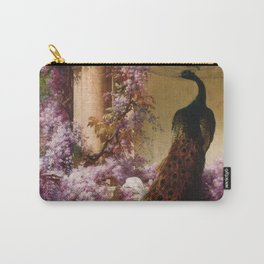 Peacock, White Doves, Yellow Iris & Purple Flowering Wisteria in a Garden landscape floral painting Carry-All Pouch