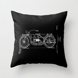 1919 Motorcycle Patent Black White Throw Pillow