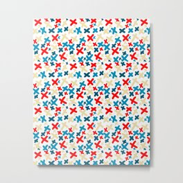 Khaki and Red and Blue X Pattern Metal Print