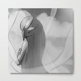 Gijinka Angel Ogura on the Clouds - Black and White Edition Metal Print