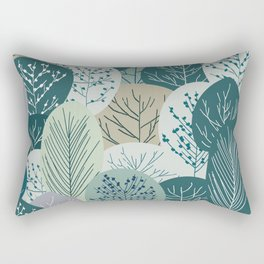 Forest Woodland Trees, Green, Floral Prints Rectangular Pillow