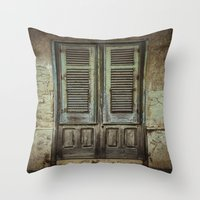 italian Throw Pillows featuring Italian Door III by Maria Heyens