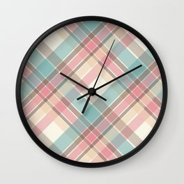Vintage Tartan Pattern – Red Yellow Blue and Brown Wall Clock
