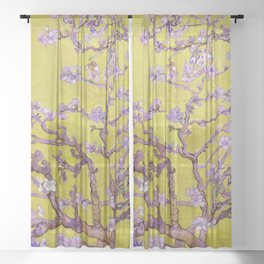 """Vincent van Gogh """"Almond Blossoms"""" (edited gold) Sheer Curtain"""