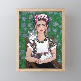 Frida cat lover Framed Mini Art Print