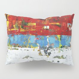 Folly Bright Red White Modern Art Abstract Painting Pillow Sham