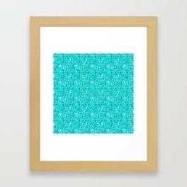 Ocean Blue and Blue Green Leopard Spot Pattern Framed Art Print