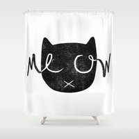meow Shower Curtains featuring Meow by Laura O'Connor