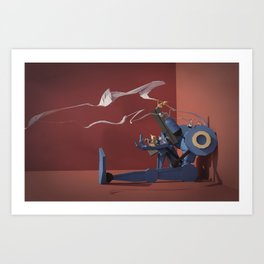 Police-Bot with Kittens Art Print