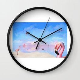Flamingo sunset/sunrise Wall Clock