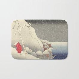 In the snow at Tsukahara on Sado Island Bath Mat