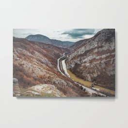 Beautiful picture of the canyon in Serbia, with river and the highway in the middle Metal Print