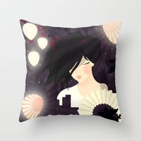 tokyo Throw Pillows featuring Tokyo by Jenny Lloyd Illustration