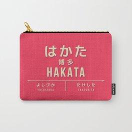 Retro Vintage Japan Train Station Sign - Hakata Fukuoka Red Carry-All Pouch