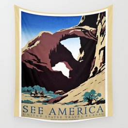 See America travel ad Wall Tapestry