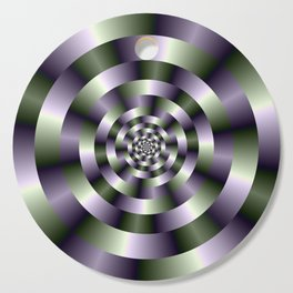 Concentric Circles in Green and Purple Cutting Board
