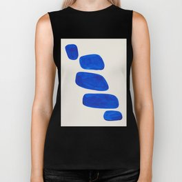 Minimalist Modern Mid Century Colorful Abstract Shapes Phthalo Blue Native Pebbles Stacked Biker Tank