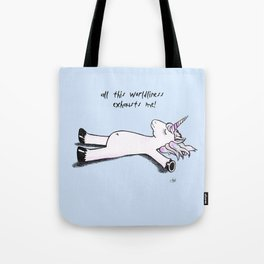 exhausted unicorn (blue) Tote Bag