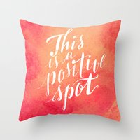 positive Throw Pillows featuring Positive by Raluca Ag