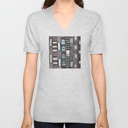 Gray Facade with Lighted Windows Unisex V-Neck