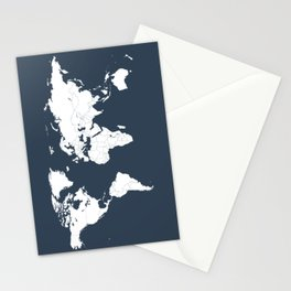 Minimalist World Map in Navy Blue Stationery Cards