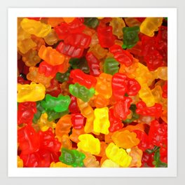 red orange yellow colorful gummy bear Art Print