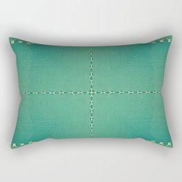 Texture Teal with Beige stitched Abstract Rectangular Pillow