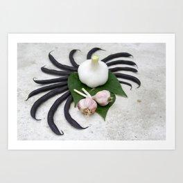 Purple beans and garlic Art Print