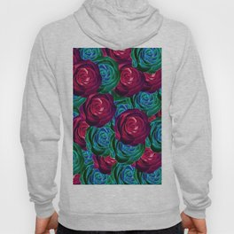 closeup blooming roses in red blue and green Hoody