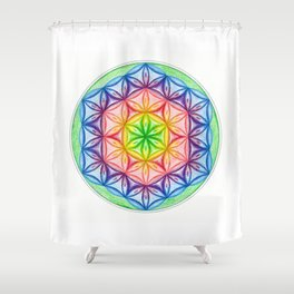 Flower of Life & the Seven Colours - The Rainbow Tribe Collection Shower Curtain