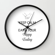 Earn Your Happy Ending [Black] Wall Clock
