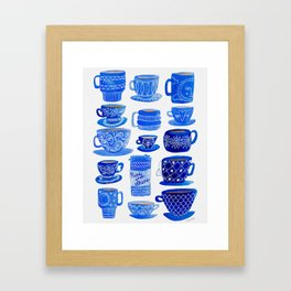 Coffee Mugs and Teacups - A study in blues Framed Art Print