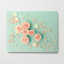 Composition of roses over mint Metal Print