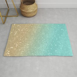 Sparkling Gold Aqua Teal Glitter Glam #1 #shiny #decor #society6 Rug