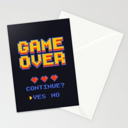 game over -8bit pixel poster Stationery Cards