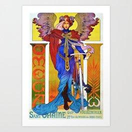 1897 Omega Bicycle Paris France Advertising Poster Print Art Print