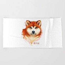 Akita Stylistic Portrait Beach Towel