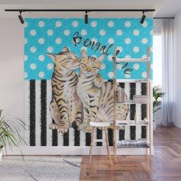 Bengal Cats Polka Dot Watercolor Love Wall Mural