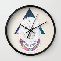 lion king Wall Clocks featuring King Lion by Katell Desormeaux