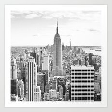 New York City, Manhattan (Black & White) Art Print