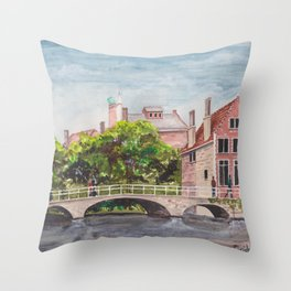 Bruges Bridge Throw Pillow