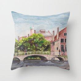 Bruges Bridge Throw Pillow