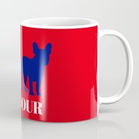 bonjour Mugs featuring Bonjour by Laura Maria Designs