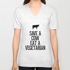 Save a Cow Eat a Vegetarian Unisex V-Neck