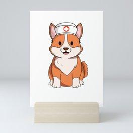 Cute Corgi Puppy Nurse International Nurse Day T-Shirt Mini Art Print