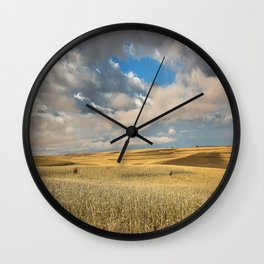 Iowa in November - Golden Corn Field in Autumn Wall Clock