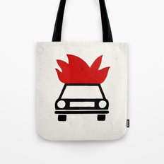 the car's on fire Tote Bag